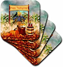 3dRose CST_220606_2 Digital Art Thanksgiving Scarecrow Along with Fall Harvest Veggies Soft Coasters, (Set of 8)