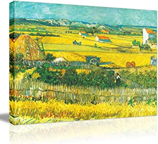 Van Gogh Canvas Prints Framed- Harvest at La Crau Giclee Farm Oil Painting Wall Arts with Gold Corn Field Stretched Removable Wall Picture Illuminative Art Painting for Home Office Decor-16×12