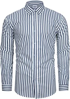 TUNEVUSE Mens Striped Shirt Long-Sleeve Multi-Color Stripe/Candy Stripe/BengalStripe Button Down Shirt 100% Cotton