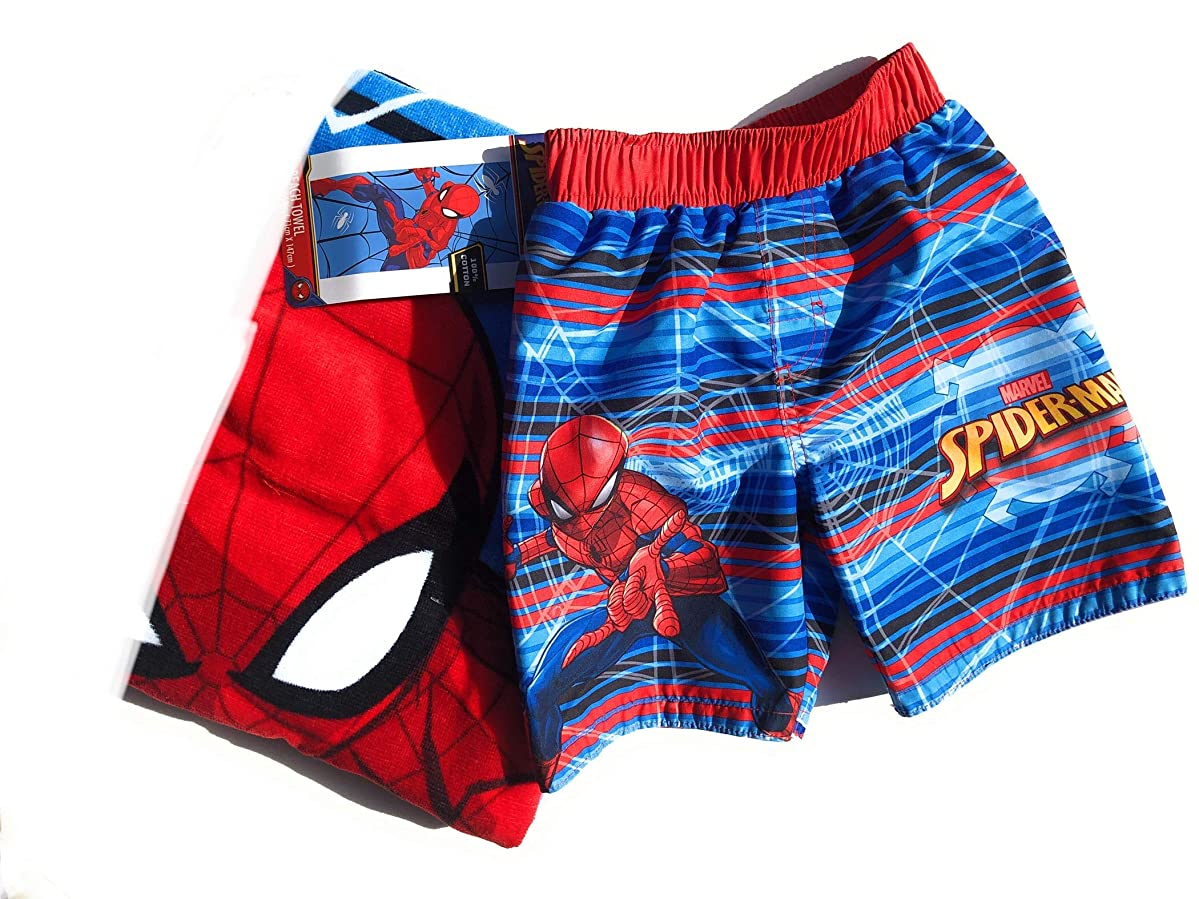 Spider-Man Beach Towel and Spider-Man Swim Trunks Set for Boys-Size 3T 2 Pieces
