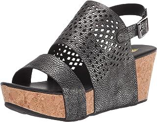Volatile Women's Spruce Ankle Strap Die-Cut Wedge Sandal,Pewter,7