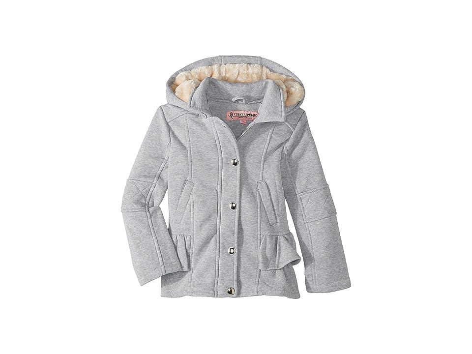 Urban Republic Kids Elena Fleece Hooded Jacket w/ Ruffles (Little Kids/Big Kids) (Heather Grey) Girl