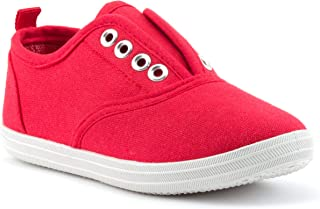 ZOOGS Boys and Girls Canvas Shoes, Laceless Low Top Toddler Slip On Shoes