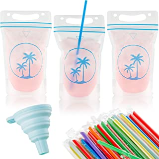 125 Premium Drink Pouches with Straw Hole Design Stand Up Smoothie Bags Juice Pouch No Leak Resealable Double Zipper - Reusable Plastic Disposable Clear Drinking Bag for Adult Kids Party Cups BPA-Free