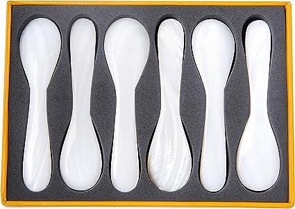 Marycrafts Juego De 2 Cuchara De Concha De N/ácar Para Caviar Huevos Pescado