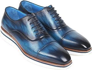 Paul Parkman Men's Smart Casual Oxfords Blue Leather (ID#185-BLU-LTH)