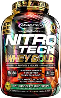 MuscleTech NitroTech Whey Gold, 100% Whey Protein Powder, Whey Isolate and Whey Peptides, Mint Chocolate Chip, 5.5 Pound
