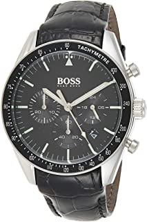 Hugo Boss Mens Quartz Watch, Analog Display and Leather Strap 1513625