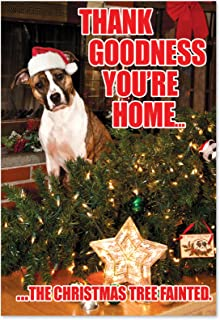 12 Boxed 'Tree Fainted' Christmas Cards with Envelopes 4.63 x 6.75 inch, Happy Holidays with Silly Puppy in Santa Hat Christmas Notes, Fallen Christmas Tree and Dog Season's Greetings Card B1144