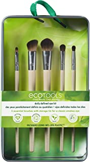 EcoTools Daily Defined Makeup Brushes, For Eyes, With Beauty Cards and Storage Tray, Set of 5