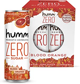 Humm Kombucha Zero Sugar Blood Orange - Live and Raw Organic Kombucha - No Refrigeration Needed - Vegan & Gluten-Free - Bl...