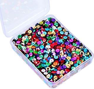 Whaline 20,000 Pcs Christmas Bulk Loose Sequins Cup Sequin Iridescent Spangles Flat Beads with Storage Box for Crafts, Sewing, Sequin Slime, Wedding Decoration, DIY Arts Crafts, 80 Grams, 6 mm