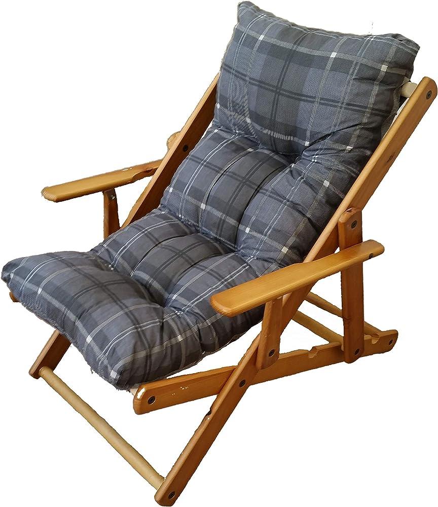 Sedia a sdraio poltrona relax 3 posizioni in legno pieghevole cuscino imbottito in gomma piuma Grigio Pio
