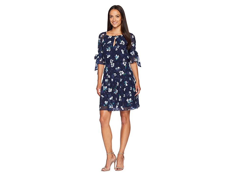 Vince Camuto Fit and Flare Dress with 1/2 Sleeves and Bows (Navy Multi) Women