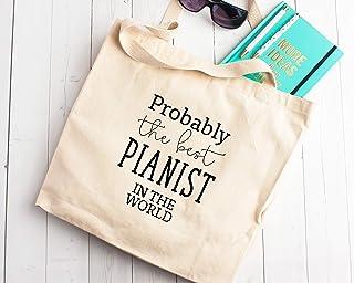 Probably The Best Pianist in The World, borsa per la spesa in tela, idea regalo per musicisti di pianoforte, colore avorio