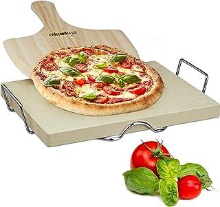 Relaxdays 10020489 Pierre à pizza 3 cm épaisseur pierre à pain rectangle support en métal pelle à pizza en bois HxlxP: 7 x...