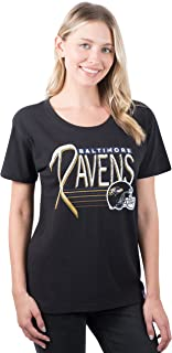 NFL Baltimore Ravens Ultra Game Women's S/S SCOOP W/LOGO, Black, Large