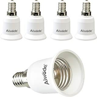 Aiwode E14 a E27 Socket Adapter Socket Convertidor, E14 Adaptador conversor para bombillas LED y bombillas Halógenas,Potencia Máxima 200W,Paquete de 5.