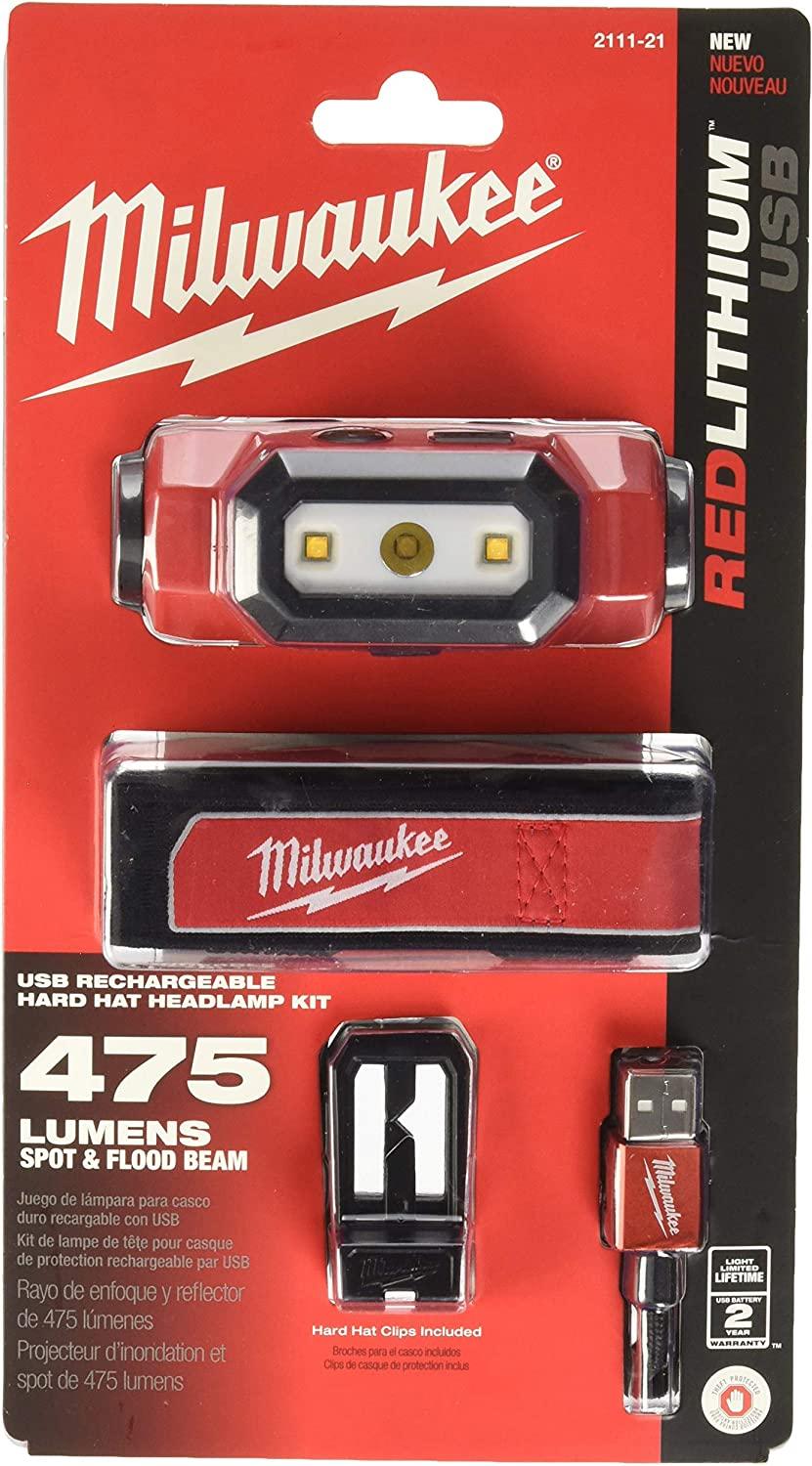 MILWAUKEE'S Electric Tools 2111-21 USB Rechargeable Headlamp, Red