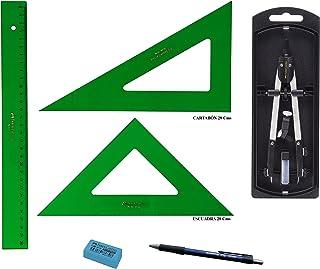 PACK LOTE Faber Castell Técnico - Regla 813-30 Cms + Escuadra 566-28 Cms + Cartabón 666-28 Cms + Bigotera Compás con adaptador universal 32722-8 + REGALO