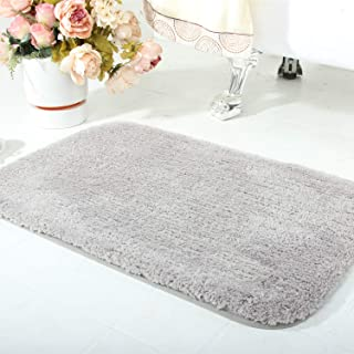 wanzhan Luxury Gray Thick Small Bath Mats for Bathroom Rugs Non Slip Absorbent 20×24 Soft Microfiber Shag Bath Rug Machine Wash