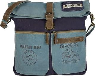 Sunsa große Damen Umhängetasche. Canvas Crossbody/ Crossover Bag auch Schultertasche. Blaue Damentasche in Retro Vintage D...