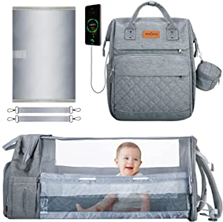 Diaper Bag Backpack, Baby Bag with Changing Station, Portable 3 in 1 Multifunctional Bakcpack for Boys Girls,Waterproof Changing Pad,Insulated Pockets,USB Charging Port,Pacifier Case,Gray
