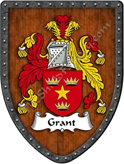 Grant Family Crest Custom Coat of Arms, Family Ancestry and Heritage Hanging Metal Wall Plaque Shield - Hand Made in the USA