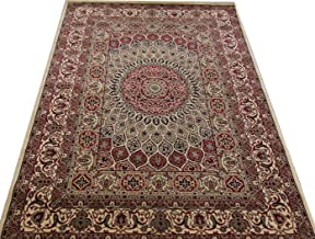 Faiz Carpets Kashmiri Design Persian Carved Carpet for Your Hall & Living Room with 1 inch Thickness 9 X 12 Feet (270x360 cm) Ivory