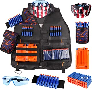UWANTME Kids Tactical Vest Kit for Nerf Guns N-Strike Elite Series with Refill Darts Dart Pouch, Reload Clip Tactical Mask Wrist Band and Protective Glasses for Boys