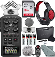 Zoom H6 Handy Recorder with Interchangeable Microphone System with Deluxe Accessory Bundle