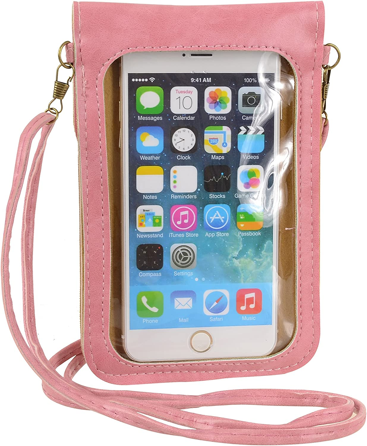 Little Cellphone Purse with Touch Screen Clear Window Travel Crossbody Bag for iPhone 11 Pro Max, XS Max, Galaxy S10 Plus S9+, A10S A10, Pixel 3 XL, 2XL Moto G8 Play Z4, Z3, OnePlus 6T BLU G90 (Pink)