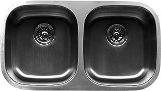 Karran Undermount Stainless Steel 31.5x18.125x8.75 0-Hole 50/50 Double Bowl Kitchen Sink