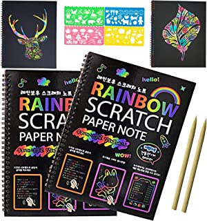 Scratch Art Notebooks; Rainbow Scratch Paper; Black Doodle Pad with Rainbow Background with 2 Colorful Notebooks, 2 Wooden Styluses and 4 Drawing Stencils