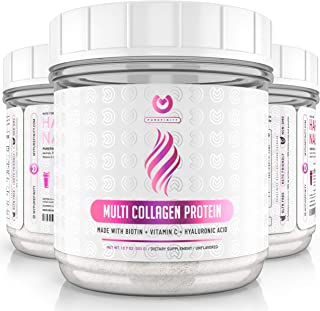 Multi Collagen Peptides Powder – #1 Dissolving Collagen Type I,II,III,V & X with Biotin & Vitamin C – Anti-Aging, Healthy Hair, Skin & Nails - Keto & Paleo Friendly Protein - Unflavored