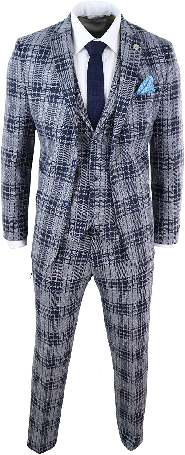 Mens Wool 3 Piece Check Suit Tweed Navy Grey Tailored Fit 1920s