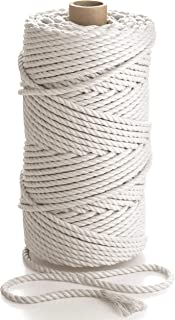 Macrame Rope 5mm 13/64in 109 yd - Natural Cotton Cord - 3PLY Strong Cotton String - Knitting, Crochet, Macramé - Handbag, ...