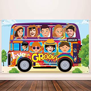 60's Party Decorations Hippie Bus Background Banner Hippie Party Theme Party Birthday Party Carnival School Party Photo Prop Backdrop for Large Party Decoration