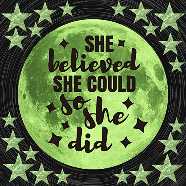 She Believed She Could So She Did Glow In Dark Stars Moon Ceiling Wall Decals Kid Child Baby Inspirational Room Decor And Party Birthday Gift