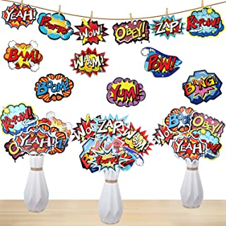 24 Pieces Hero Action Sign Cutouts Super Fun Hero Theme Party Supplies Centerpiece Stickers Table Cake Toppers Photo Booth Props