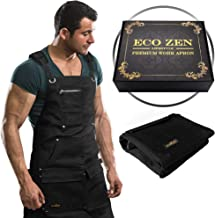 Shop Apron – 16 oz Waxed Canvas Work Apron with Pockets | Waterproof, Fully..