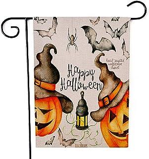 "Fiuqaomy Happy Halloween Magic Pumpkin Bat Garden Flag Vertical Double Sized, Holiday Burlap Yard Outdoor Decoration 12.6""..."