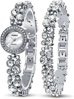 Time100 Women's Watches Bracelet Diamond Round Dial Watch Ladies Fashion Dress Watches Wrist Watches for Women (Silver)