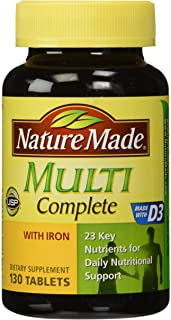 Nature Made Multi Complete with Iron, 130 Tablets (pack of 3)