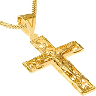 LIFETIME JEWELRY Large Filigree Crucifix Cross Necklace for Men & Women 24k Gold Plated