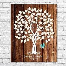 Rustic Laurel Leaf Wreath Wedding Guest Book Alternative Wood Sign Large Size W14