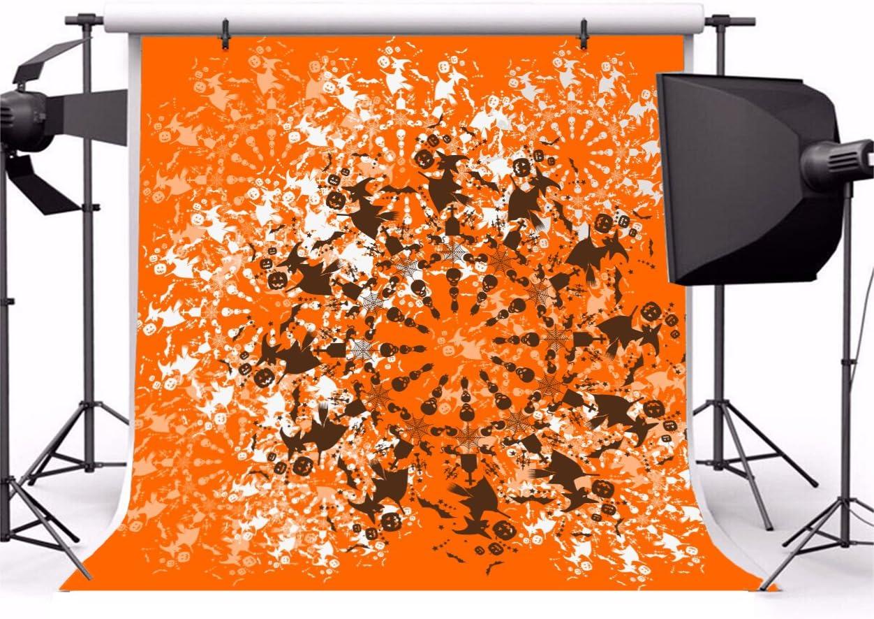 Leowefowa Halloween Set Cycle Background 10x10ft Vinyl Photography Backgroud Black and White Halloween Element Grimace Pumpkin Wizard Broom Bat Skull Orange Backdrop Children Night Party