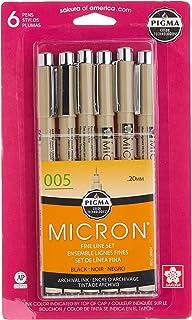 Sakura Pigma 50034 Micron Blister Card Ink Pen Set, Black, 005 6CT