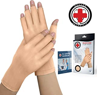 Doctor Developed Nude Arthritis Gloves/Skin Gloves and Doctor Written Handbook - Soft with Mild Compression, for Arthritis, Raynauds Disease & Carpal Tunnel (Open-fingertips, Medium)