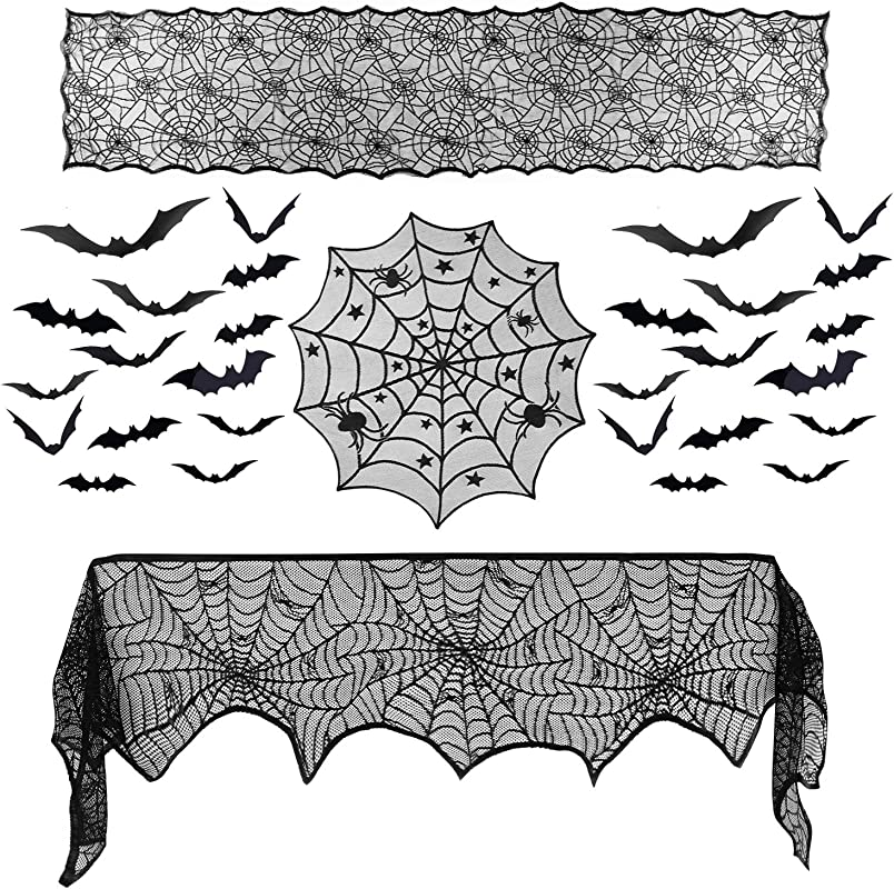 Ueerdand 39 Pieces Halloween Decorations Set Black Lace Spiderweb Fireplace Mantle Scarf Cover Round Tablecloth Large Table Runner 3D Bats Wall Sticker Eve Festive Party Supplies